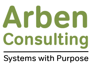 Arben Consulting logo with text saying Systems with Purpose