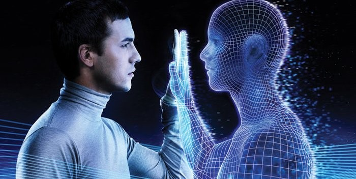 An image of a person with their hand held up touching a digital version of themselves - the image for LINQs ability to create a Digital Twin of an organisations processes