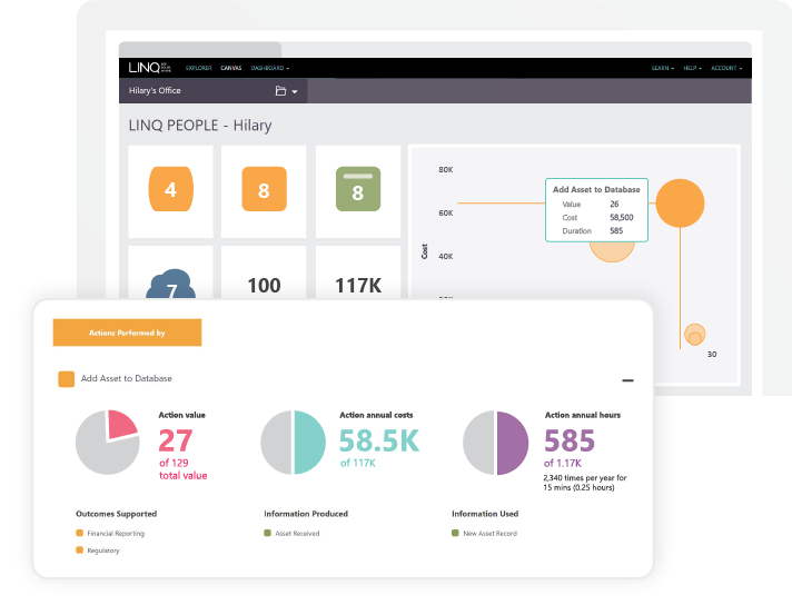 Screenshot from LINQ insights showing the People Dashboard which highlights the work people really do against the value they contribute to business outcomes