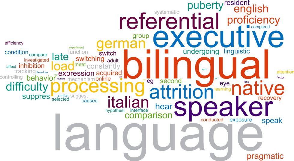 A language word cloud with words such as bilingual, speaker, executive and language