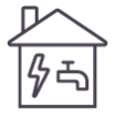 A LINQ icon for the Utility sector - an outline of a house with water and electrical supply icons