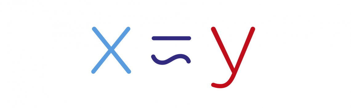 X is Y logo using the mathmatical symbol for is